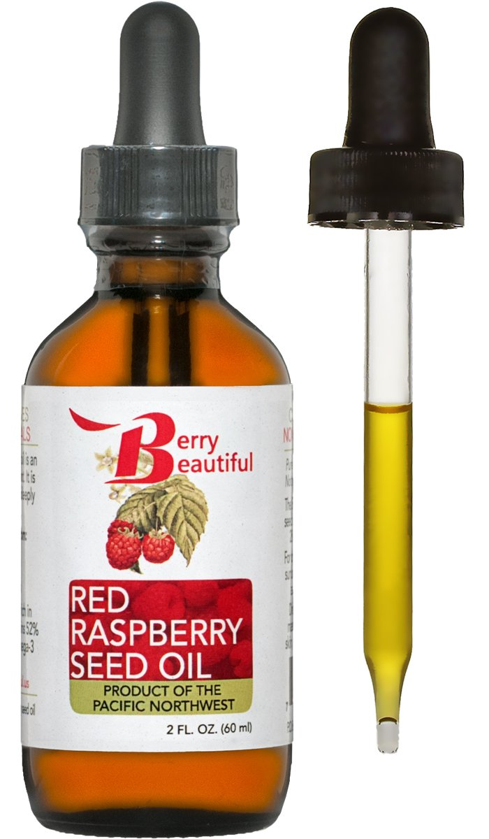 Red Raspberry Seed Oil - Cold Pressed by Berry Beautiful from locally grown Raspberries - 100% Pure & Unrefined (2 fl oz) by Berry Beautiful