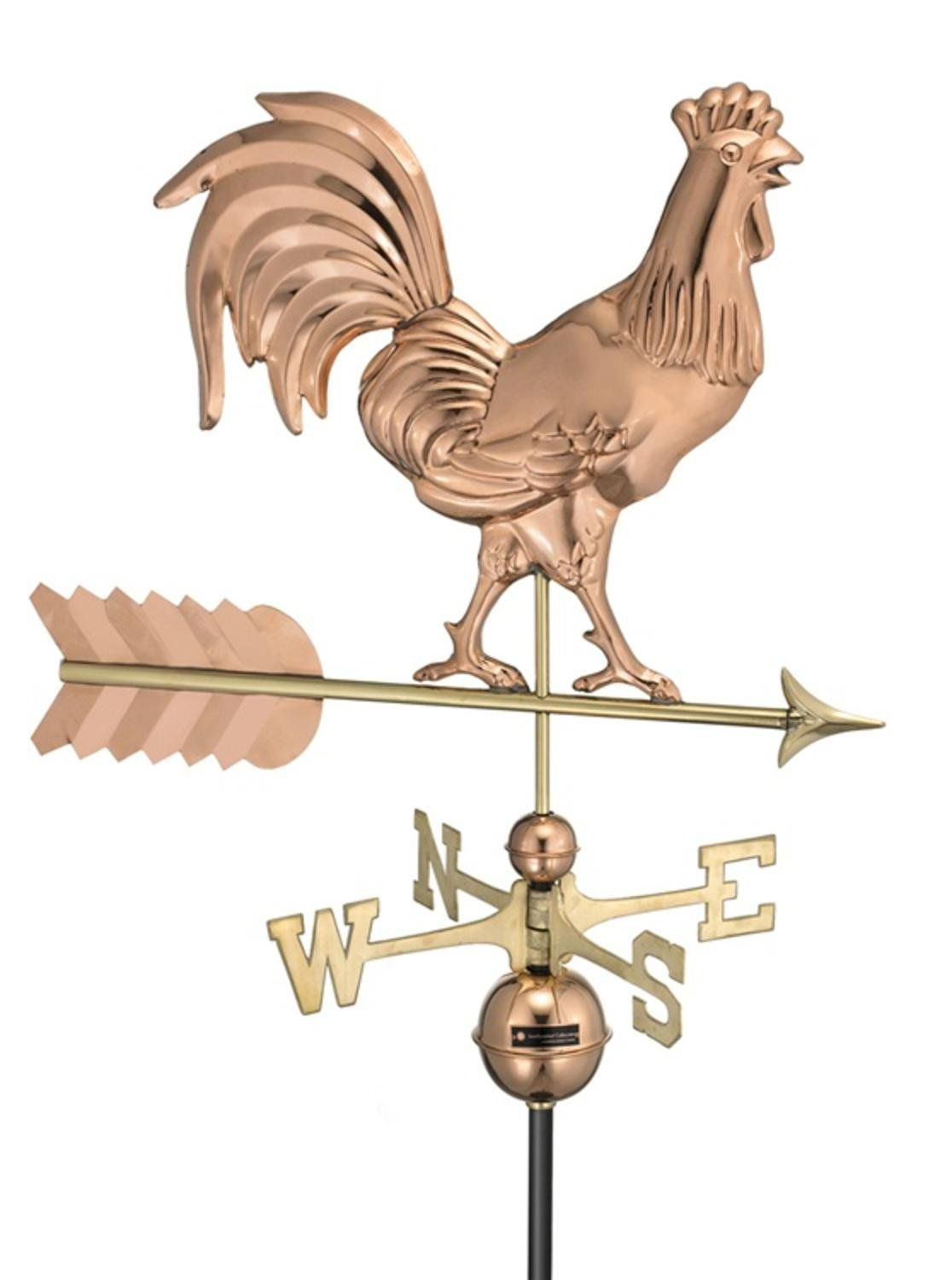 32'' Smithsonian Collection Handcrafted Polished Copper Rooster Outdoor Weathervane