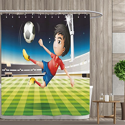 Davishouse Kids Shower Curtains Digital Printing Young Boy Playing Football in the Stadium Athlete Sports Soccer Championship Graphic Satin Fabric Bathroom washable 72''x84'' Multicolor by Davishouse