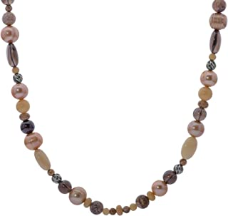 product image for Carolyn Pollack Sterling Silver Shades of Picture Jasper, Yellow Quartzite and Smokey Quartz Beaded Necklace 21 Inch