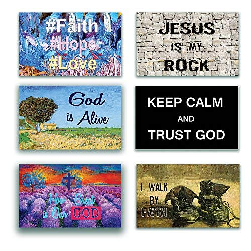 Christian Posters (12-Pack) Inspirational Bible Verses Poster for Men Women Teens - A3 Size - Keep Calm Trust God Walk by Faith - Youth Ministry Sunday School Church Decor Home Decoration Gifts