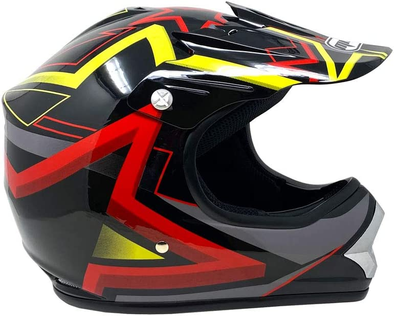 MMG Motorcycle Youth Kids Helmet Off-Road MX ATV Dirt Bike Motocross UTV Shiny Black Star Small with Goggles