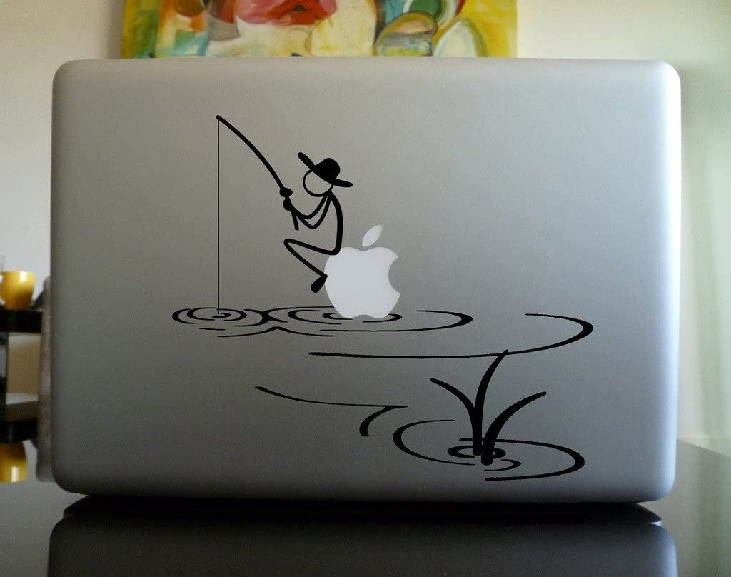 Stickman Sitting on Apple Fishing Macbook Decal Skin Sticker Laptop