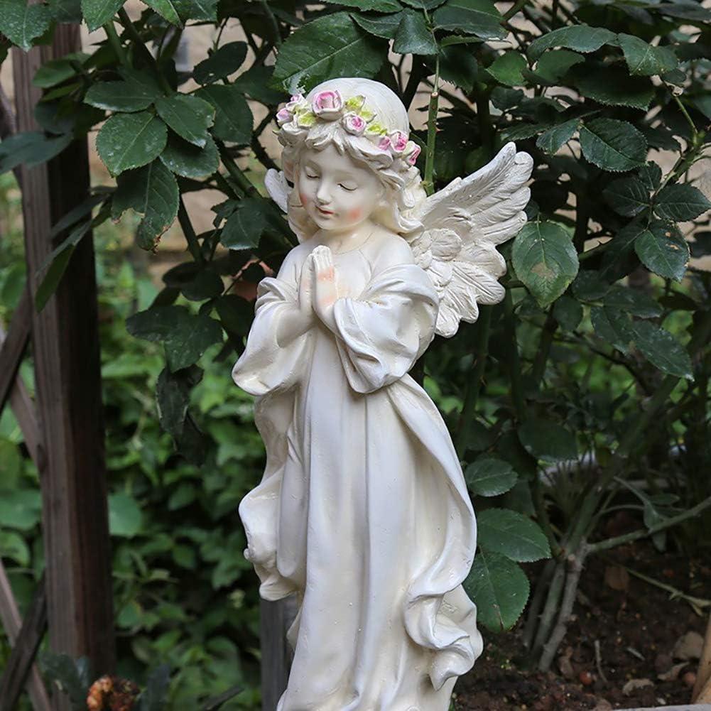 LIUSHI Indoor Outdoor Angel Sculpture,Resin Art Statue,Handcrafted Praying Cherubs Figurine,Art Ornaments for Home,Office,Garden W 15x10x30cm(6x4x12inch)