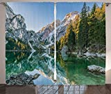Cheap Apartment Decor Curtains Autumn Landscape with Faded Trees and Mountains Pure Reflection in Water Dream Photo Living Room Bedroom Decor 2 Panel Set Green Grey