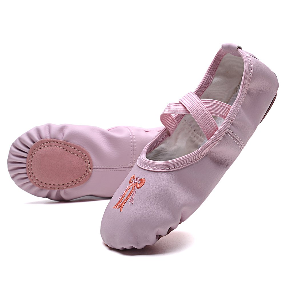 KONHILL Leather Ballet Dance Shoes Slippers Flat Gymnastics Yoga Shoes Girls (Toddler/Little Kid/Big Kid/Adult), Pink, 22