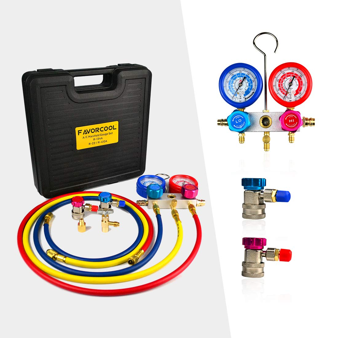 FAVORCOOL CT-136G 3-Way AC Diagnostic Manifold Gauge Set with Case for Freon Charging, fits R410A, R134A, R22 Refrigerants, Aluminum Body, Sight Glass & 1/2 Acme Fittings, Quick Couplers & Adapters