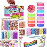 ESSENSON Slime Kit Slime Supplies Make Your Own Slime, Slime Making Kit for Girls Boys Kids, Includes Clear Crystal Slime, Slime Containers, Foam Balls, Fruit Slices, Fishbowl Beads, Sugar Paper