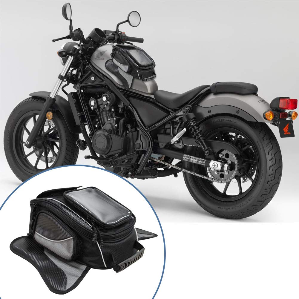 Dragon Flame Universal Strong Magnetic Bag for Honda Yamaha Suzuki Kawasaki Harley Motorcycle Tank Bag Waterproof Oxford Saddle Black Motorbike Bag