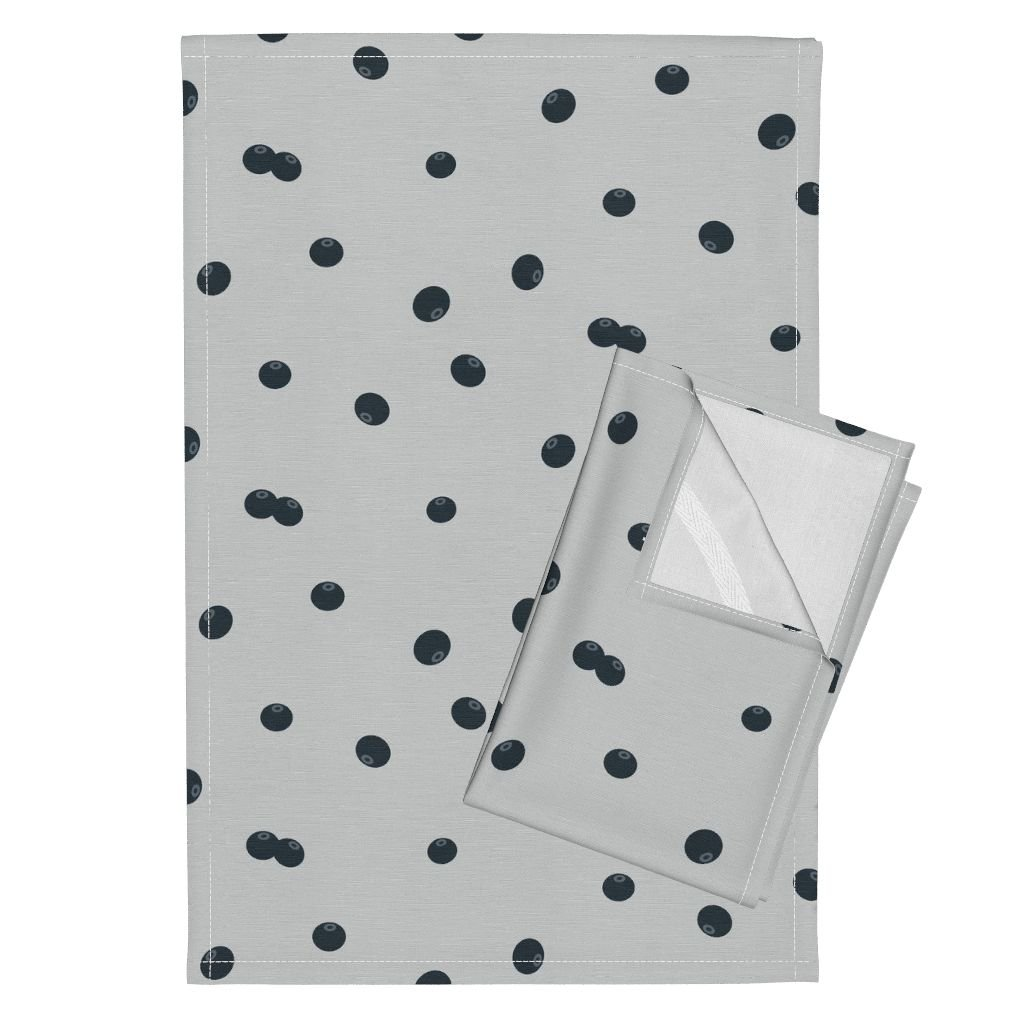 Roostery Blueberries Berries Woods Woodland Fall 2016 Forrest Fruit Summer Fruit Tea Towels Blueberries Grey by Sunny Afternoon Set of 2 Linen Cotton Tea Towels