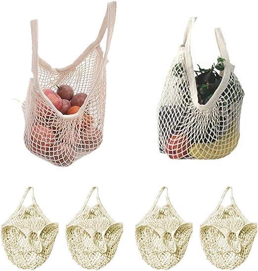 Paquete de 4 bolsas de malla de algodón reutilizables para organizar bolsas de mercado (bolsa de compras portátil), para la compra de alimentos y almacenamiento al aire libre, frutas y verduras: Amazon.es: