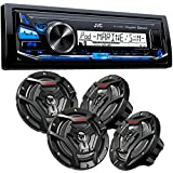 JVC KD-X33MBS Mechless Bluetooth Marine Radio and two pairs of CS-DR6200M 6.5 Black Marine Coaxial Speakers