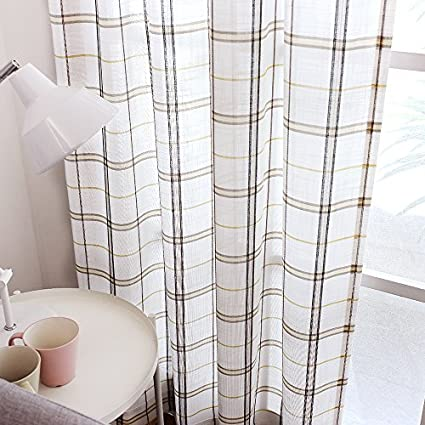 Amazoncom White Checkered Sheer Curtains For Living Room Black And