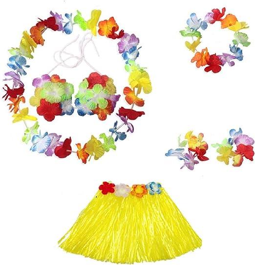 6 piezas para un conjunto de guirnalda de flores de lei multicolor ...