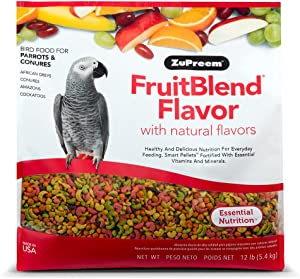ZuPreem FruitBlend Flavor Pellets Bird Food for Parrots and Conures   Powerful Pellets Made in USA, Naturally Flavored for Caiques, African Greys, Senegals, Amazons, Eclectus