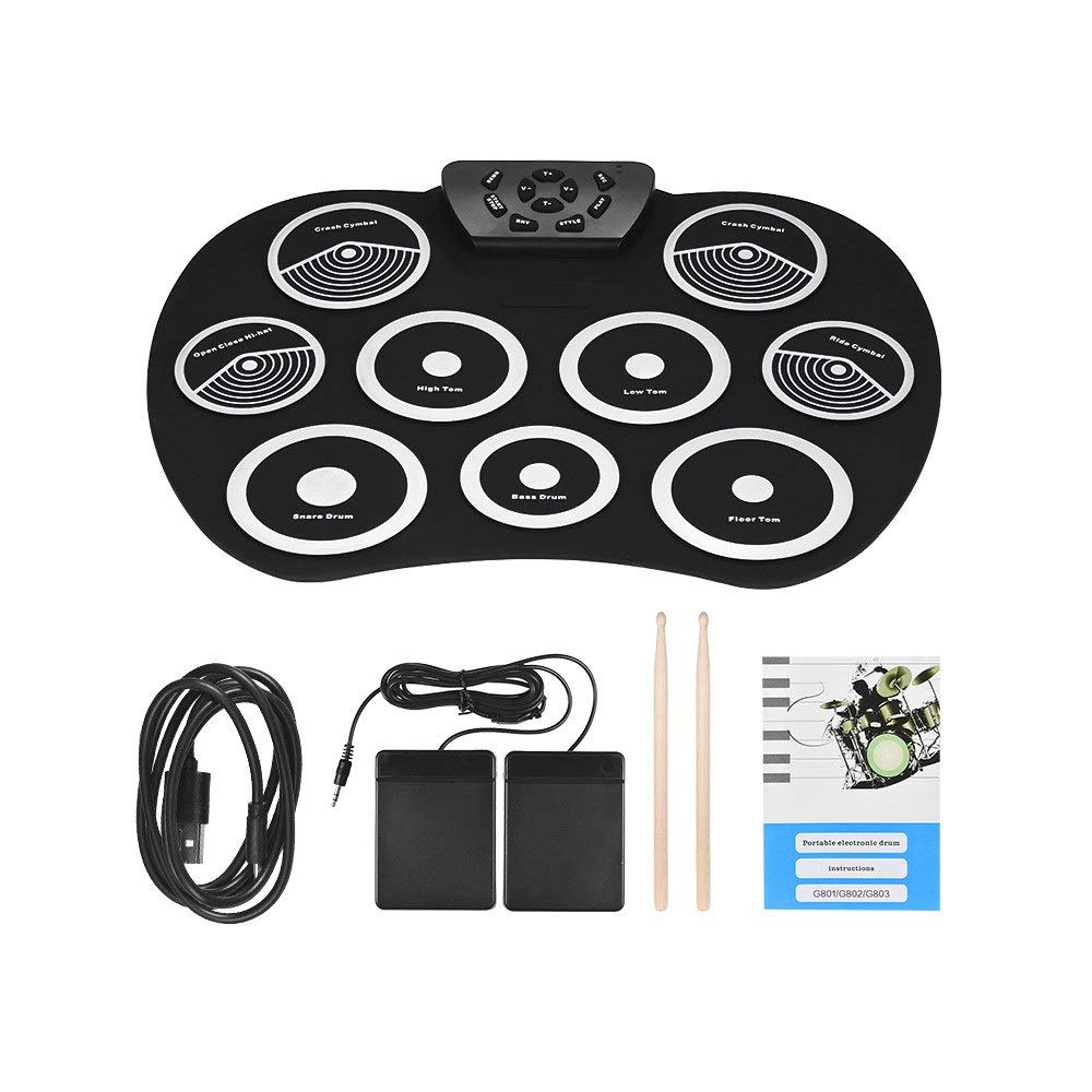 Portable Electronic Drum Pad Electronic Drum Set Roll Up Practice Drum Kit With 9 Silicon Pads Headphone Jack No Speaker Sustain Pedals Drum Sticks Recording Playback Functions Gift For Kids