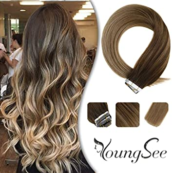 Youngsee Tape In Extensions Echthaar Braun Strahnchen Mit Blond Balayage Skin Weft 100 Remy Haar Tapes Echthaar Extensions Glatt Haare 20pcs50g 55