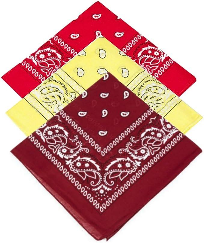 Red X 1,Yellow X 2 cowboy Set of 3 x Paisley Handkerchief Neckerchief Bandana Headband for Men,Women,Boys,Girls Hankie Neck Tie neckwear Casual Fancy dress party novelty wear shawl Gangster