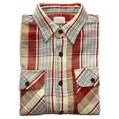 bii-free-mens-clothing-casual-button-down-shirts-100-cotton-plaid-shirt-medium-red-plaid