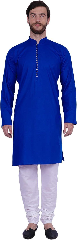 Maple Clothing Men's Cotton Kurta Pajama Indian Party Wear