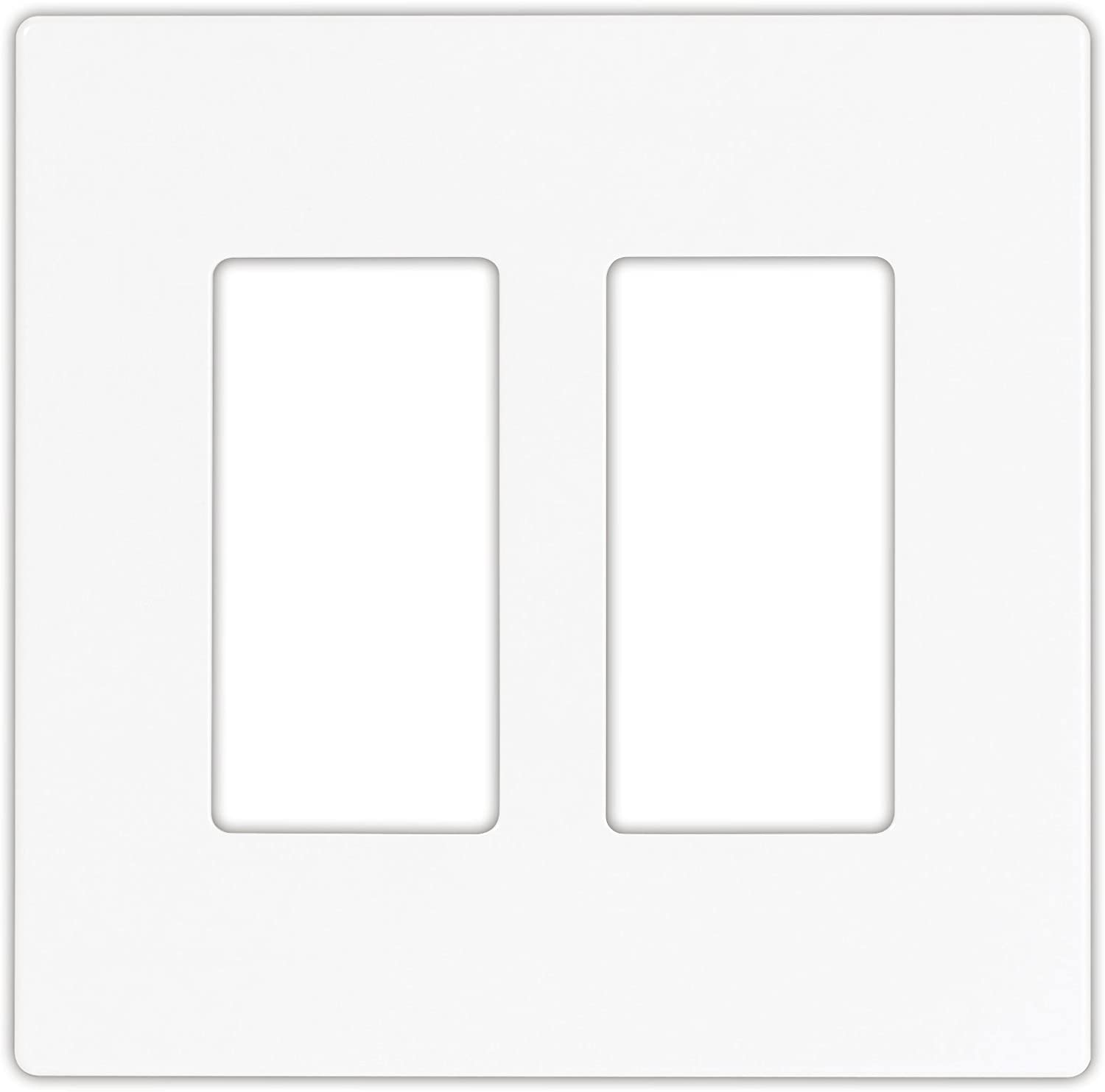 EATON PJS262W Arrow Hart Pjs262 Decorative Screw less Wall Plate, 2 Gang, 4-1/2 In L X 4.56 In W X 0.08 In T, White