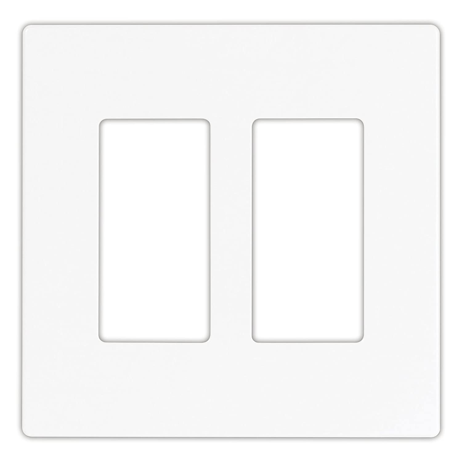 EATON 9522WS Aspire 9522 Decorative Mid Size Screw less Wall Plate, 2 Gang 4-1/2 In L X 4.56 In W 0.08 In T, Satin, White