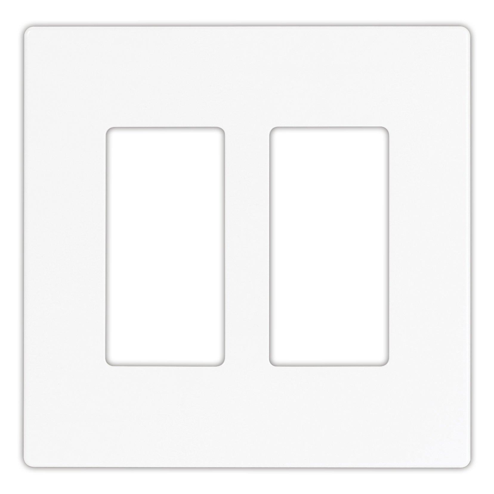 EATON PJS262W Arrow Hart Pjs262 Decorative Screw less Wall Plate, 2 Gang, 4-1/2 In L X 4.56 In W X 0.08 In T White