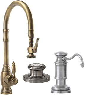 product image for Waterstone 5600-3-PN Annapolis Kitchen Faucet Single Handle with Pullout Spray, Soap/Lotion Dispenser and Air Switch, Polished Nickel