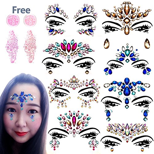 Face Glitters Jewels - 8 SET Face Gems Rhinestone Mermaid Face Jewel Tattoo Eyes Face Body Glitter Crystal Tears Gem Stones for All Festiva by NORTHERN BROTHERS