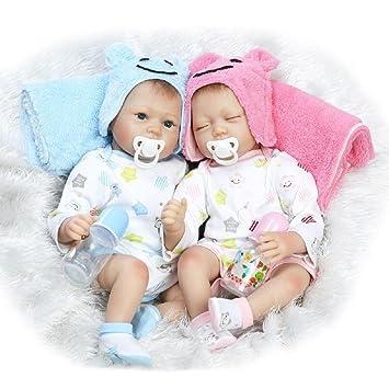 HOOMAI 22inch 55CM Bebes Reborn realistas Niñas y niños muñecas de Silicona Vinilo Gemelos Baby Doll Twins Magnetismo Juguetes Boy+Girl