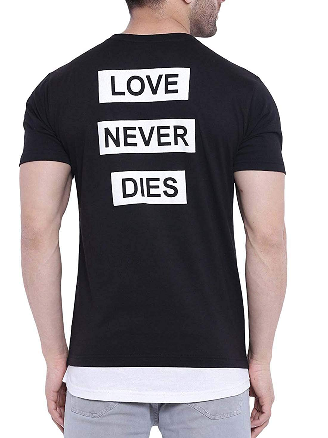 Indian Handicrfats Export Black Printed Slim Fit Cotton Mens T-Shirt