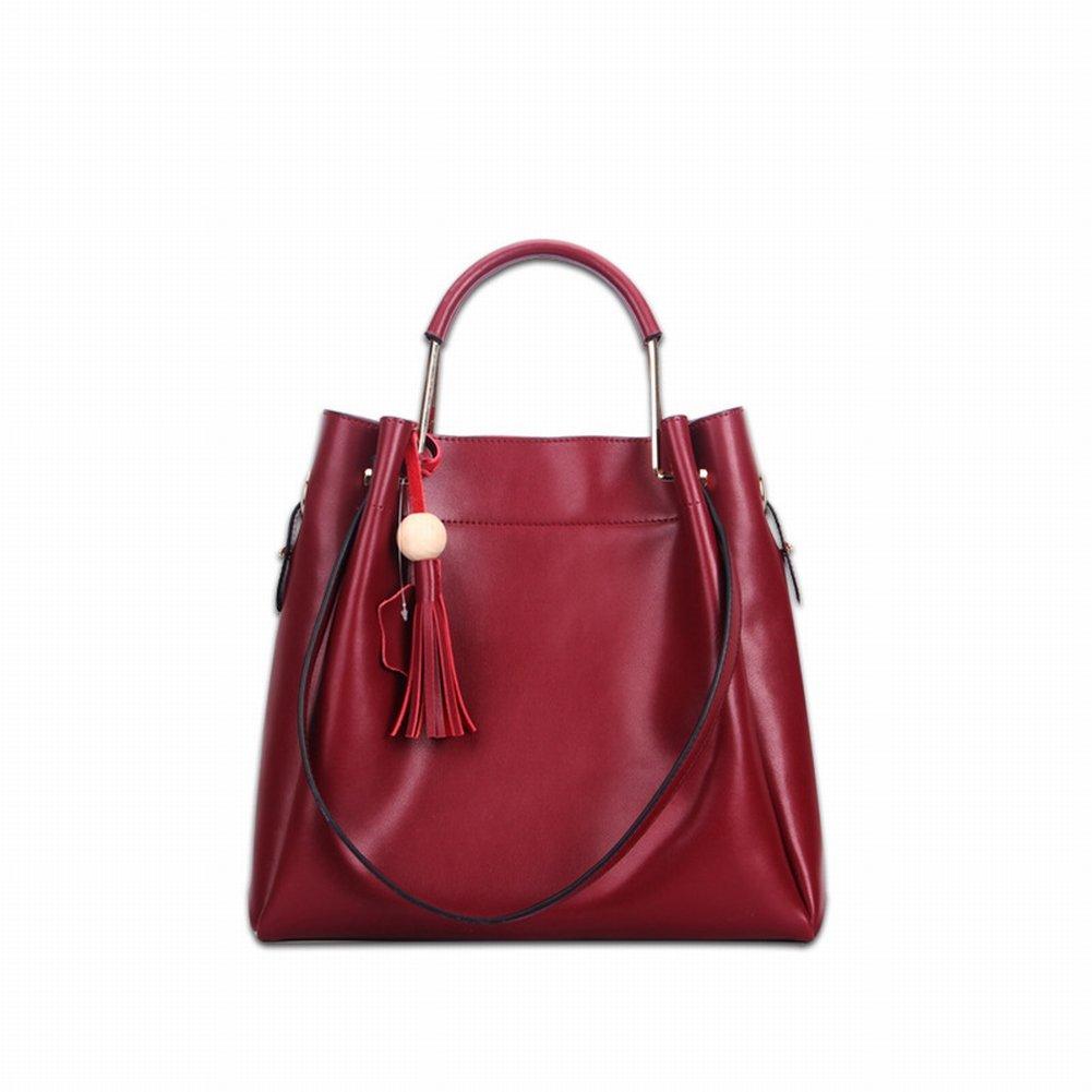 Modische Mütter Trend Quaste Handtasche Diagonal Schulter Zwei Schichten aus Leder Handtaschen , Weinrot