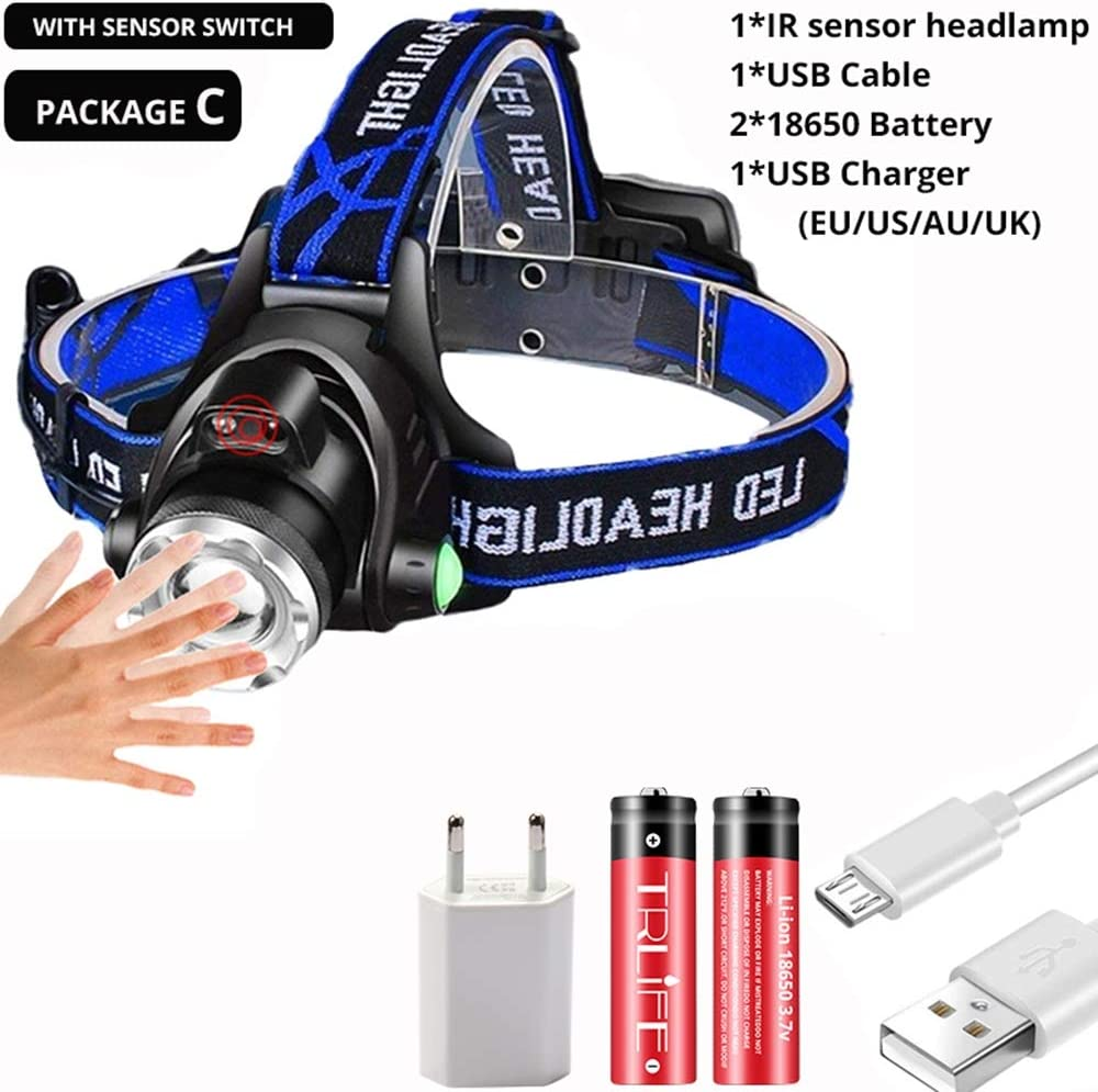 Flashlight torch sensor lamp head powerful usb headlamp headlight T6 led long