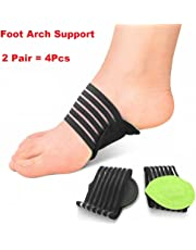 Plantar Fasciitis Support Brace 2 Pair Cushioned Compression Arch Support for Plantar Fasciitis, Fallen Arches, Heel Spurs, Flat Feet and Achy Foot Pain Problems (Black)