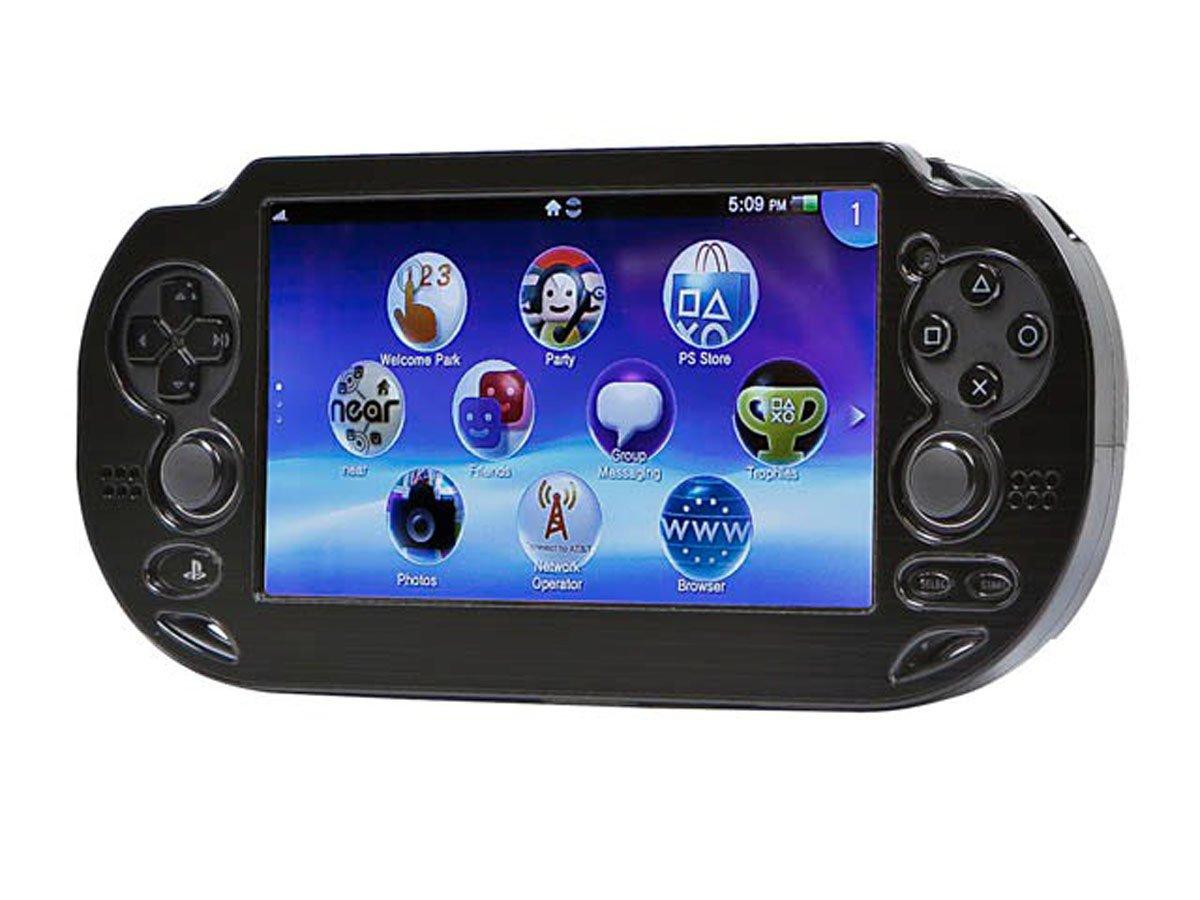 Monoprice PlayStation Vita Brushed Aluminum Clamshell Protective Case - Black
