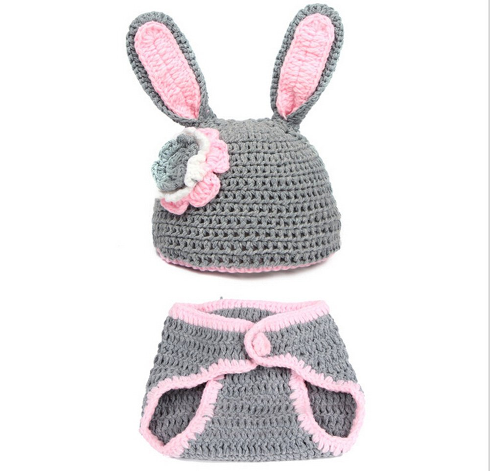 Desuper Baby Crochet Rabbit Photography Props Baby Boy Girl 0-4 Months Photography Outfits
