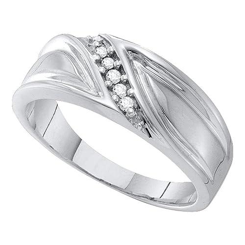 Anillo de boda de diamante redondo para hombre de oro blanco de 10 quilates