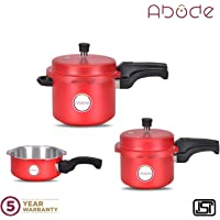 Abode Prime Colored Pressure Cooker Combo Pack - 2L, 3L and 5L, Aluminium (Without Induction)