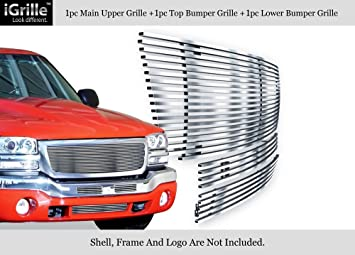 APS Compatible with 2003-2006 GMC Sierra 1500 2500HD 3500 Stainless Black Billet Grille Combo S18-J87978G