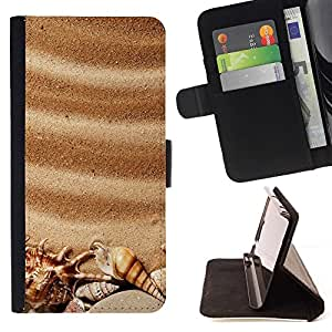 For Samsung Galaxy S4 IV I9500 Sea Seashells Brown Romantic Summer Beautiful Print Wallet Leather Case Cover With Credit Card Slots And Stand Function