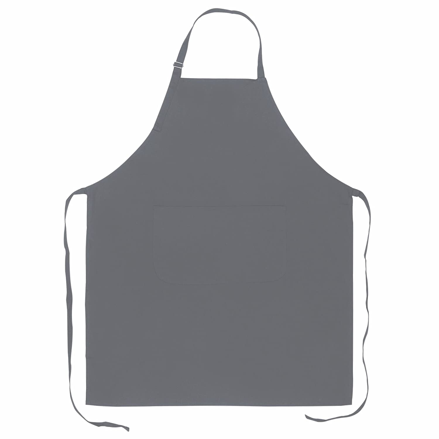 Kitchen Apron Bib Apron 100% Cotton 70 x 85 cm with Adjustable Neck Band and Pocket on Front. grey ROTH Marketing