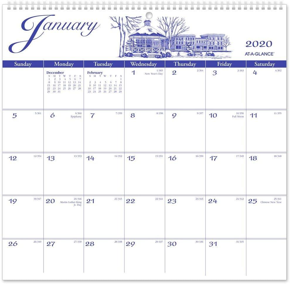 "AT-A-GLANCE 2020 Monthly Wall Calendar, 12"" x 11-3/4"", Medium, Illustrator's Edition (G100017)"