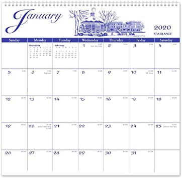 Amazon Com At A Glance 2020 Monthly Wall Calendar 12 X 11 3 4 Medium Illustrator S Edition G100017 Office Products