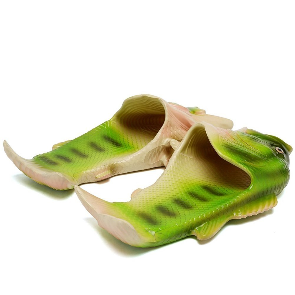 FiveStoresCity Animal Fish Slippers Beach Shoes Slides Sandals Men Women Kids Summer Non-Slip Flip Flops Gag Gifts (9 US Women/8-8.5 US Men=EUR 42, Green) by FiveStoresCity (Image #2)