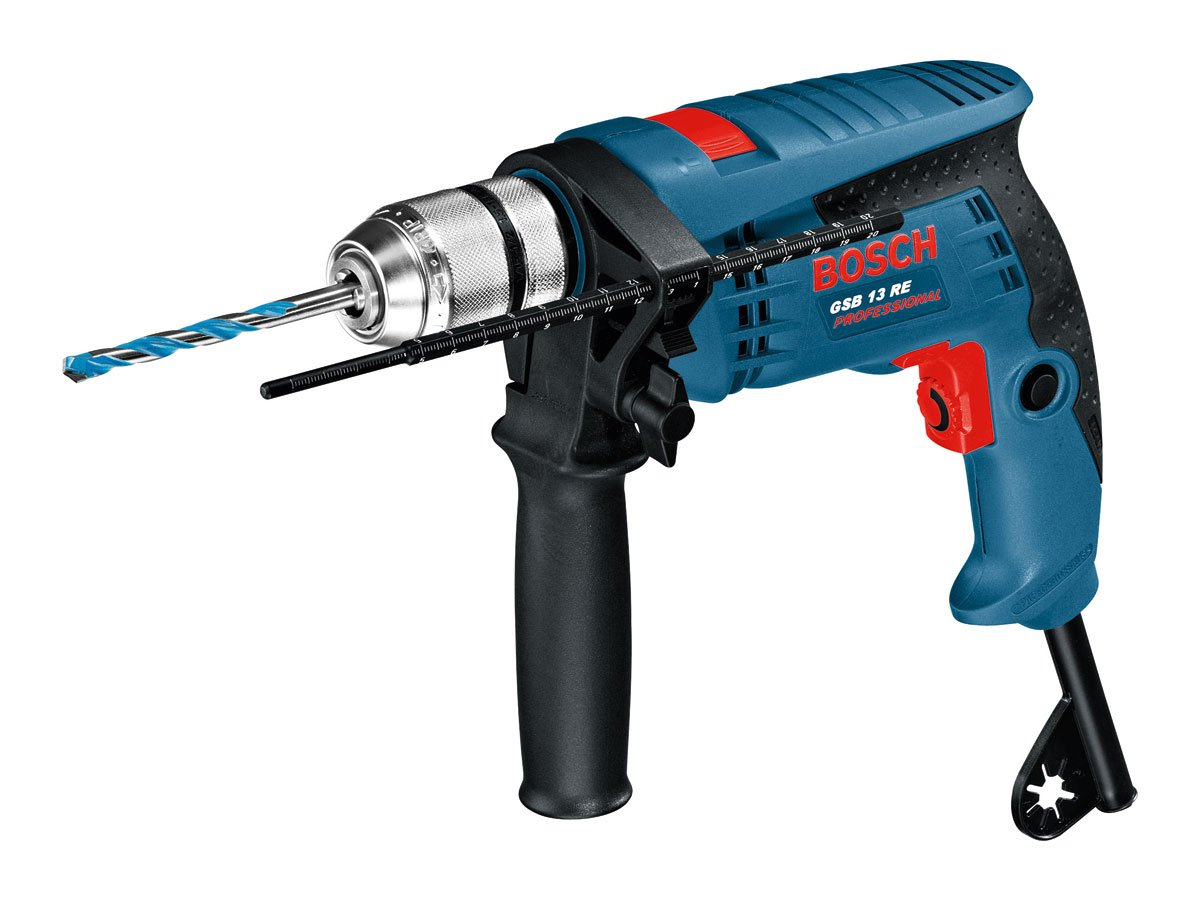Auxiliary Handle and Depth Stop 240V Single Speed Impact Drill 600W complete with Carry Case
