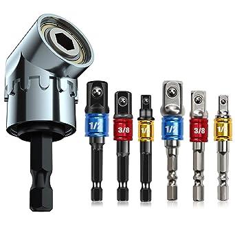 105 Degree Right Angle Driver Extension Screwdriver Drill Attachment,3Pc 1//4 3//8 1//2 Impact Grade Driver Sockets Adapter Extension Set Drill Bit,Driver Bit Set,Adapters Socket,Impact Hex Bit