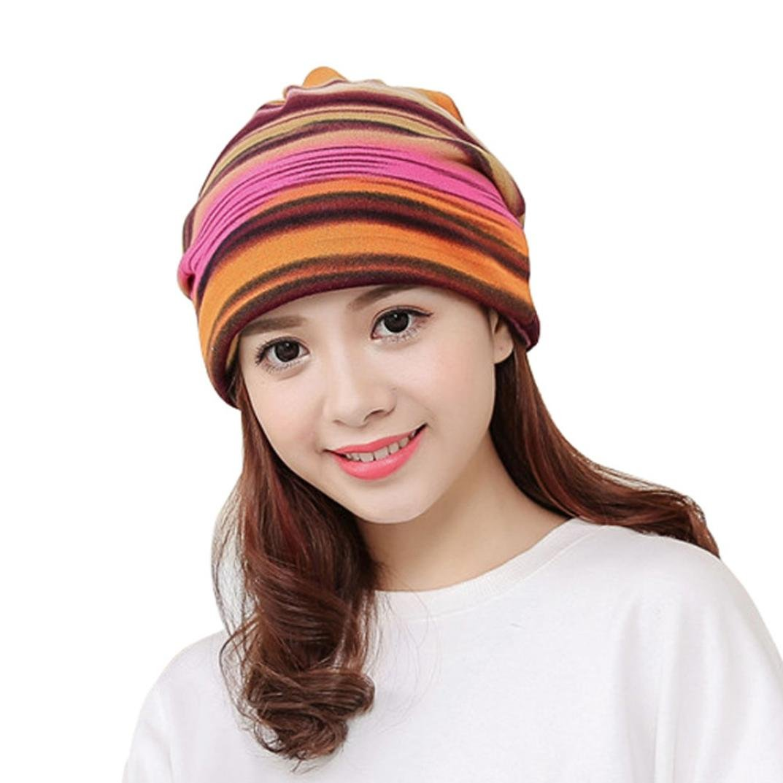 Women Stripe Ruffle Hat Scarf Collar Turban Head Wrap Cap (Hot Pink)