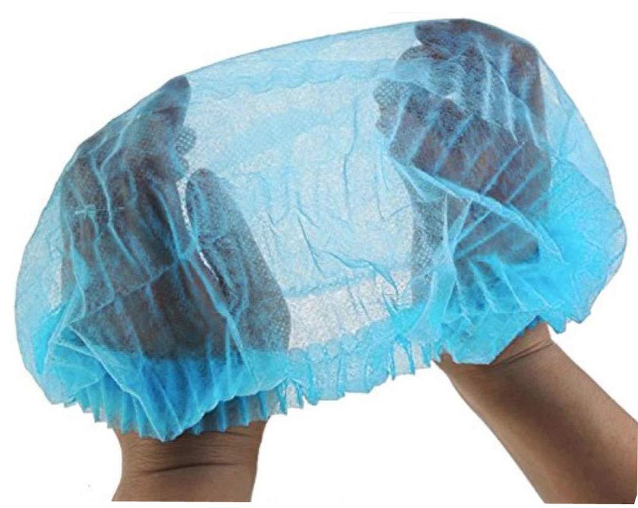 100PCS Disposable Work Shop Hat Head Cover Dust Cap Headbands Hairwear Hair Net Accessory For Doctors Nurses Cook Food Service (Blue)