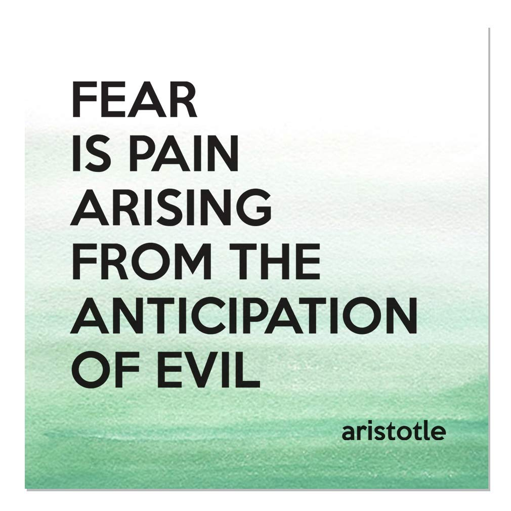 Aluminum Metal Sign Décor Fear is Pain Arising from The Anticipation of Evil Inspiration & Motivation Novelty Square Wall Art - Green Water, 24''x24''