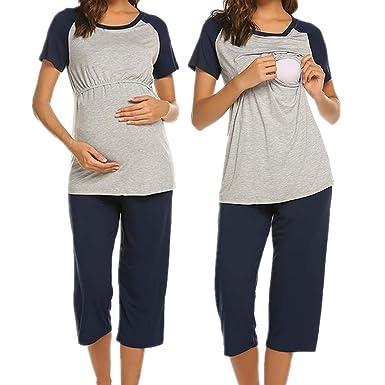0037ec99e3 UNibelle Damen Stillpyjama Pyjama Schwangere Umstandsmode umstandspyjama  Baumwolle lang Navyblau S